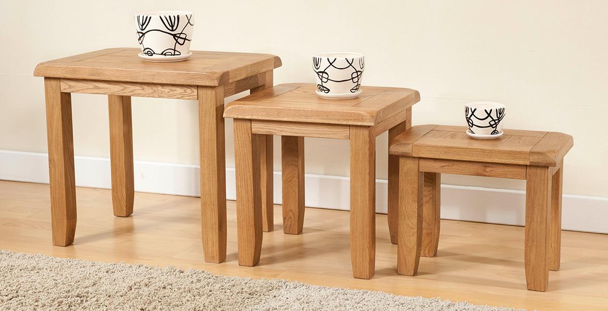 Light Wood Nest of Tables