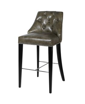 Taupe Leather Barstool