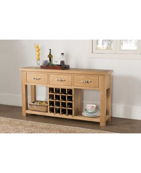 Michael O'Connor Venice Open Oak Sideboard with Wine Rack