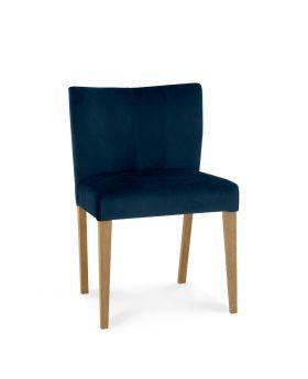Turin Light Oak Low Back Uph Chair - Dark Blue Velvet Fabric (Pair)