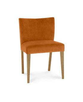 Turin Light Oak Low Back Uph Chair - Harvet Pumpkin Velvelt Fabric (Pair)