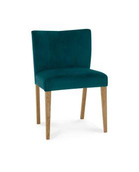 Turin Light Oak Low Back Uph Chair - Sea Green Velvet Fabric (Pair)