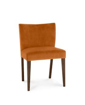 Turin Dark Oak Low Back Uph Chair - Harvet Pumpkin Velvet Fabric (Pair)