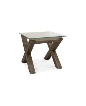 Turin Dark Oak Glass Lamp Table
