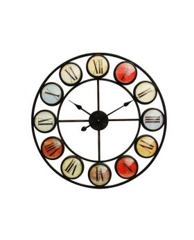 Libra smarty iron clock roman numerals coloured domed glass