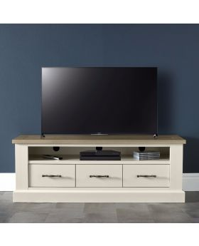 Bentley Designs Chartreuse Aged Oak & Antique White Entertainment Unit