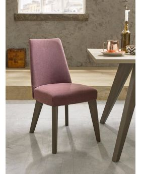 Bentley Designs Cadell Aged Oak Upholstered Chair - Mulberry (Pair)