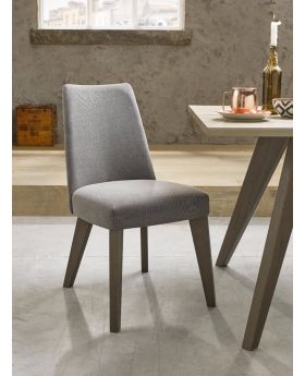 Bentley Designs Cadell Aged Oak Upholstered Chair - Smoke Grey (Pair)