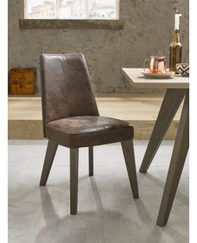 Bentley Designs Cadell Aged Oak Upholstered Chair - Distressed Bonded Leather (Pair)