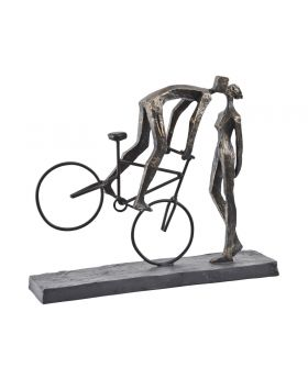 Libra Antique Bronze Kissing Couple on Bike Sculpture