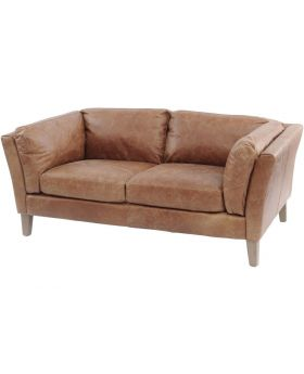 Botanical Tan Leather 2 Seater Sofa