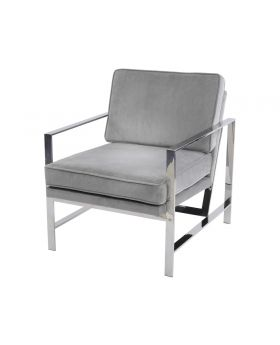 Libra Caverly Grey Velvet Chrome Frame Occasional Chair