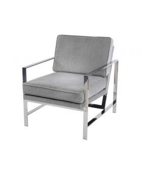 Libra Caverly Grey Velvet Chrome Frame Occasional Chair