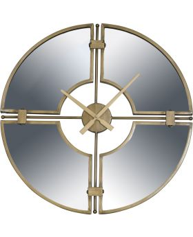 Destiny Gold Round Mirrored Wall Clock In Gold Finish