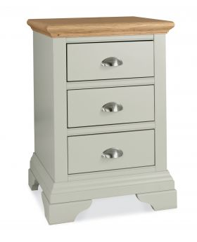 Bentley Designs Hampstead Soft Grey & Pale Oak 3 Drawer Nightstand