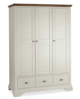 Bentley Designs Hampstead Soft Grey & Walnut Triple Wardrobe