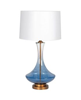 Smoked Blue Glass Shaped Table Lamp