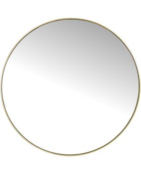 Round Mirror with Slim Gold Metal Frame, Small