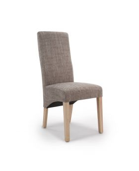 Pair of Baxter Wave Back Dining Chairs in Tweed Oatmeal Fabric