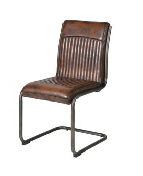 Vintage Leather Look Metal Frame Dining Chair