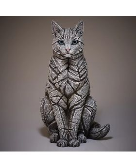 Edge Sculpture Sitting Cat in White