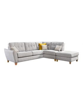 Manor Small Fabric Corner Sofa with Footstool
