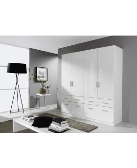 Rauch Celle 4 Door Robe with Drawers - White