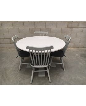 Classic Compton Large Solid Marble Table + 4 Chairs