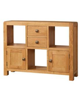 Devonshire Avon Oak Low Display Unit 2 Door 2 Drawer