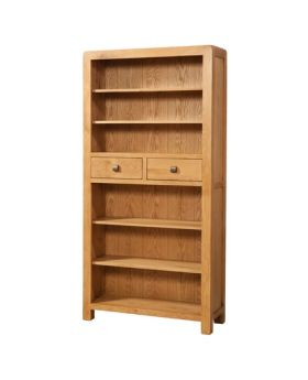 Devonshire Avon Oak Tall Bookcase With 2 Drawers