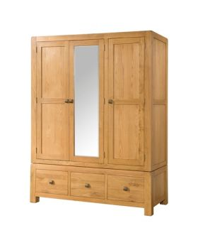 Devonshire Avon Oak Triple Wardrobe With 3 Drawers & Mirror