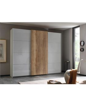 Rauch Halifax 271cm Glass Front Sliding Door Robe in Silk Grey