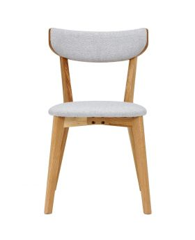 Unique Rho Pair of Dining Chairs with Grey Fabric Seat Pads