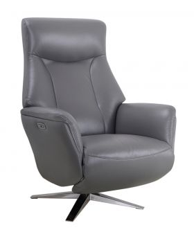 GFA Houston Leather Power Recliner Chair in Iron