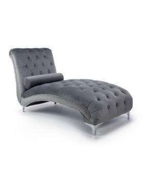 Shankar Dorchester Brushed Velvet Grey Chaise