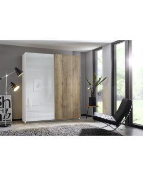 Rauch Halifax 181cm Glass Front Sliding Door Robe in White