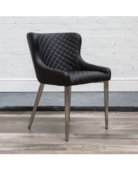 HND Kate Quilted Dining Chair - Black