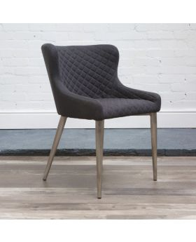 HND Kate Quilted Dining Chair - Grey Fabric