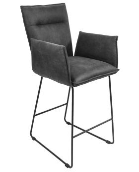 Classic Larson Bar Stool With Arms in Grey Suede Effect Fabric