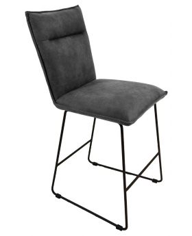 Classic Larson Bar Stool in Grey Suede Effect Fabric