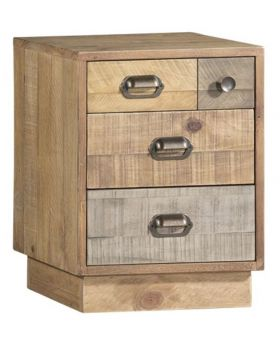 Loft Reclaimed Pine Bedside Cabinet with Plinth