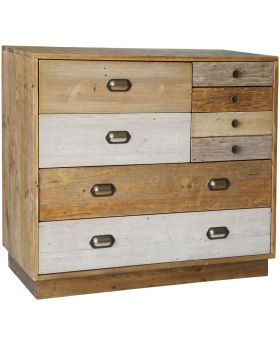 Loft Reclaimed Pine 6 Drawer Chest with Plinth