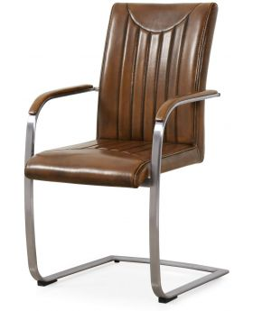 Classic Furniture Industrial Dining Armchair-retro stitch-vintage PU-stainless frame