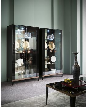 ALF Mont Noir 2 Door Display Cabinet Black High Gloss