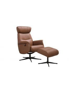 Panama Swivel Chair & Stool in Tan