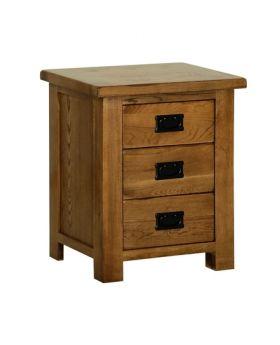 Devonshire Rustic Oak 3 Drawer Bedside