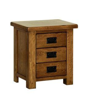 Devonshire Rustic Oak Small 3 Drawer Bedside