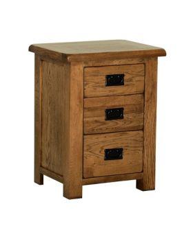Devonshire Rustic Oak 3 Drawer High Bedside
