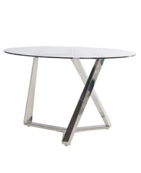 Terano Round Glass and Steel Dining Table
