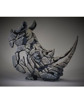 Edge Sculpture Rhinoceros Bust in White